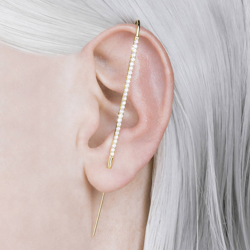 Yellow Gold White Topaz Pin Ear Cuff Earrings