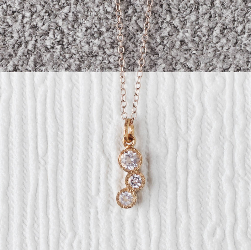 Triple White Topaz Rose Gold Birthstone Necklace