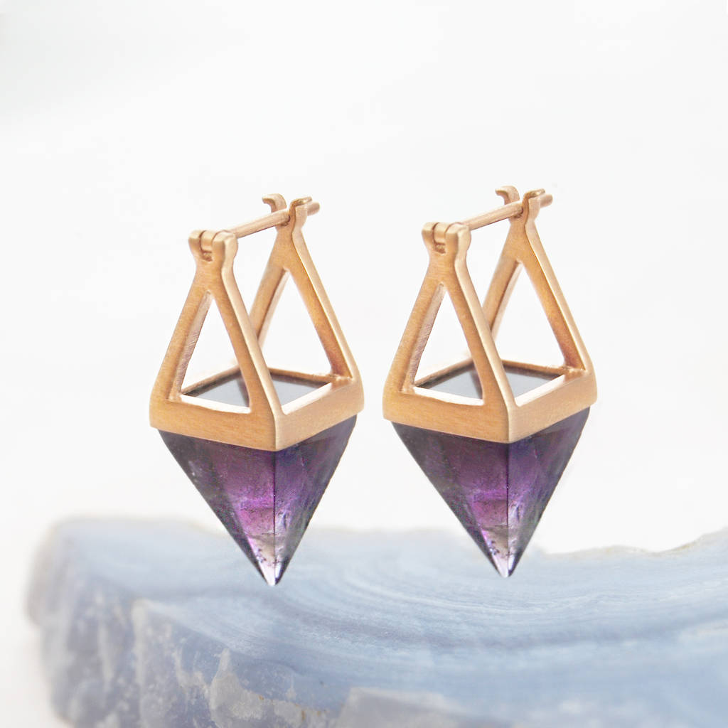 Purple Amethyst Geometric Drop Earrings