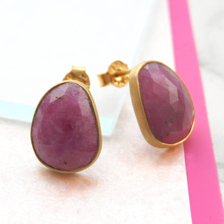 Faceted July Birthstone Ruby Gold Stud Earrings