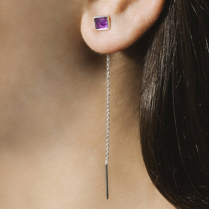 Purple Amethyst Geometric Silver Threader Earrings