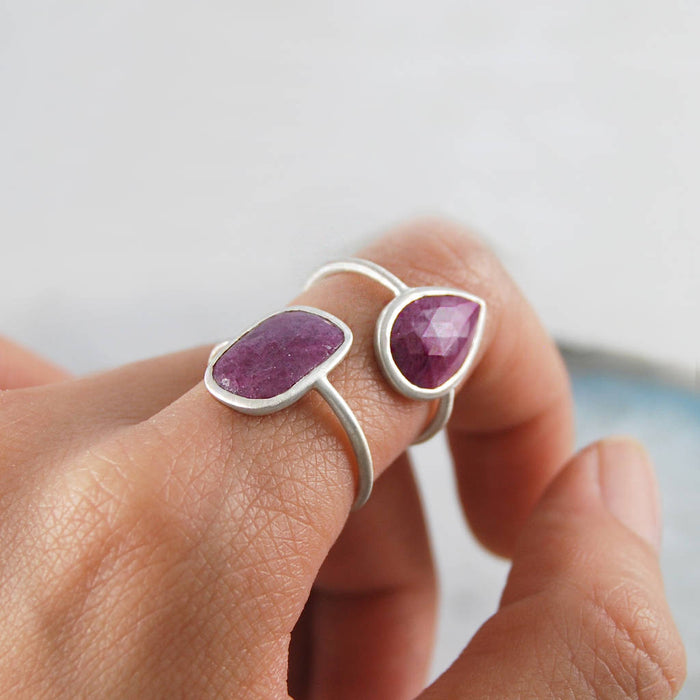 Silver Geometric Ruby Cocktail Ring