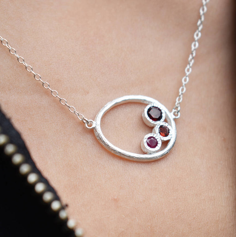 Ruby And Garnet January Birthstone Silver Necklace