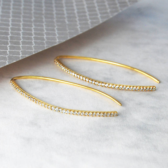 Gold November Birthstone Topaz Curve Drop Earrings