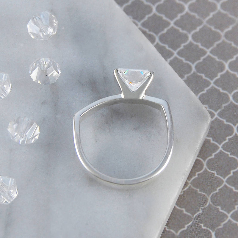 Sterling Silver Clear Topaz Birthstone Geometric Ring