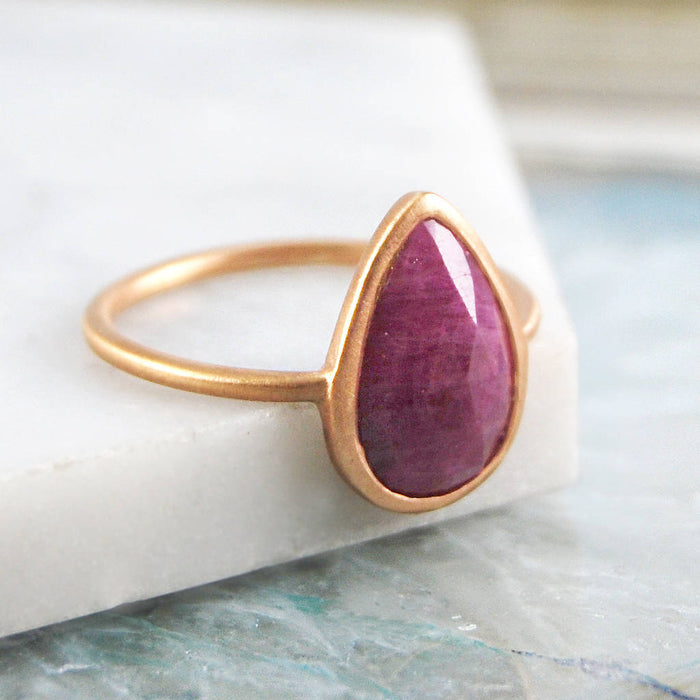 Sterling Silver Rose Gold Ruby Ring