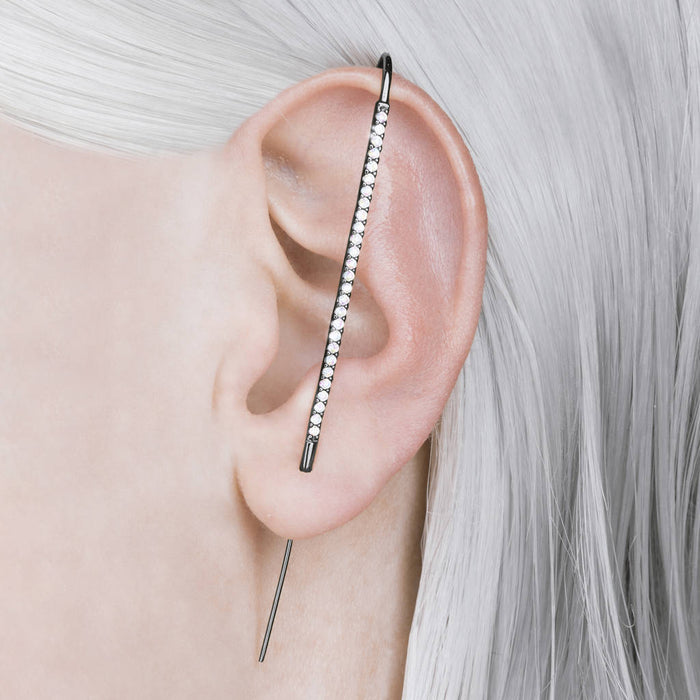 Oxidised Silver White Topaz Ear Cuff Earrings