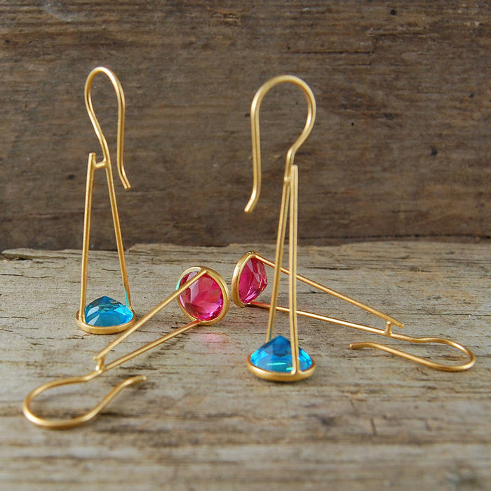 Blue Topaz Crystal Long Drop Gold Earrings