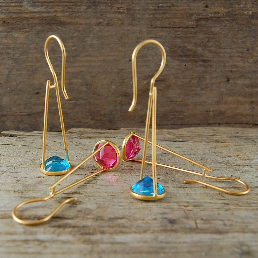 Pink Tourmaline Crystal Gold Drop Earrings