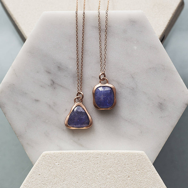 Tanzanite Rose Gold December Birthstone Necklace