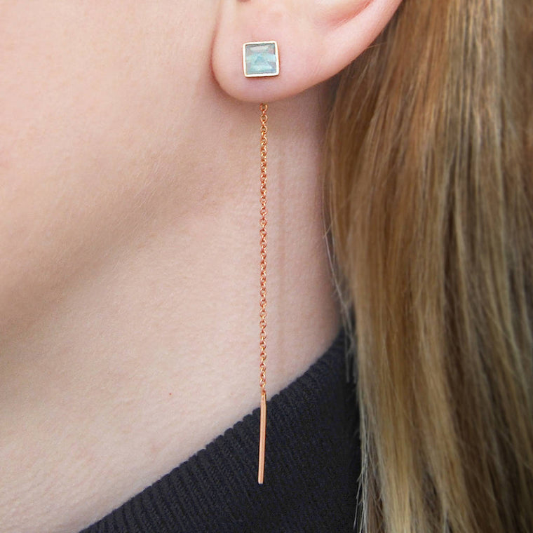 Rose Gold Aqua Chalcedony Threader Earrings