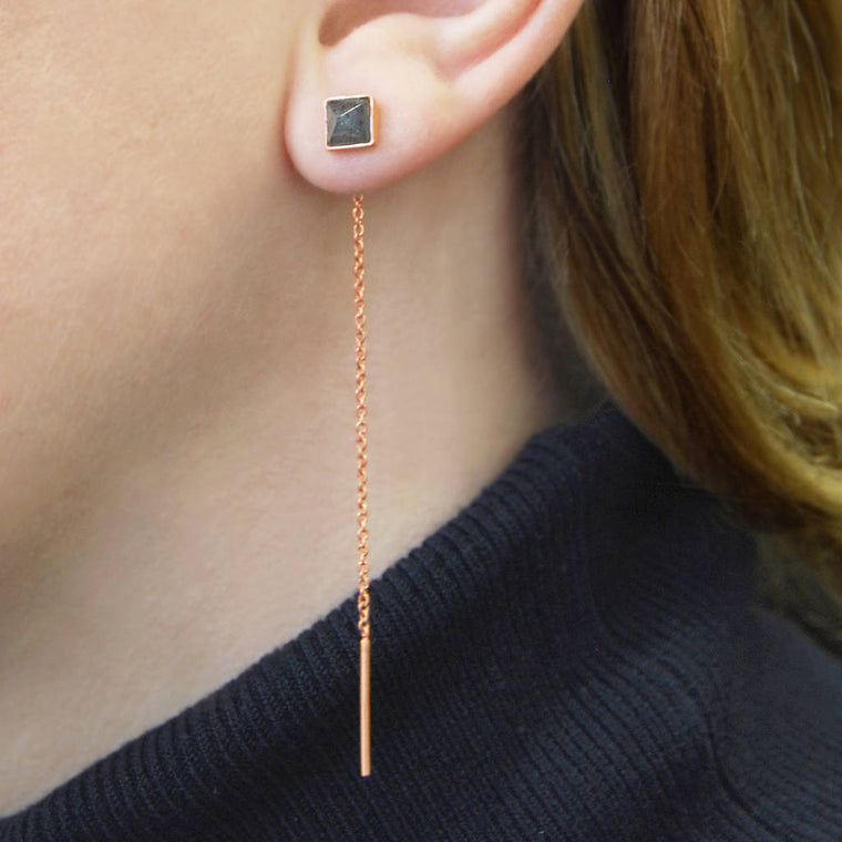 Rose Gold Labradorite Threader Earrings