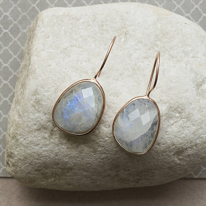 Rose Gold Birthstone Moonstone Drop Earrings