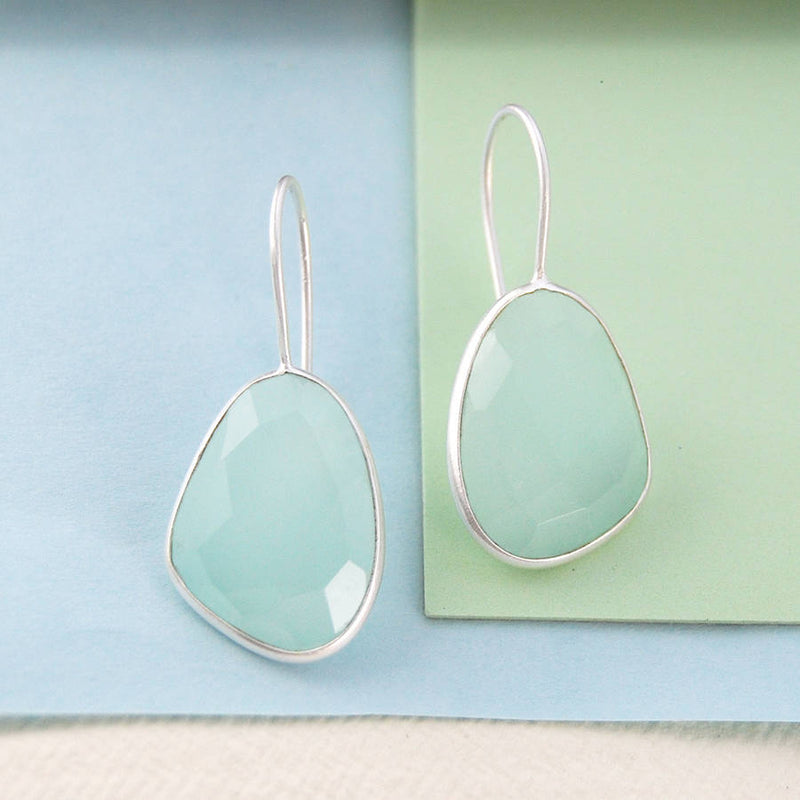 Aqua Chalcedony Irregular Gemstone Gold Earrings