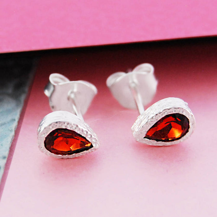 Garnet January Birthstone Rose Gold Teardrop Earrings