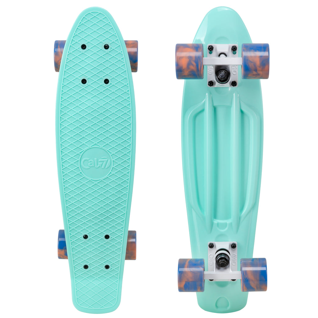 "Cal 7 Arcadia 22.5"" Mini Cruiser with Swirl Wheels - Featuring a turquoise plastic deck design,  60mm 78A blue and coral swirl wheels."