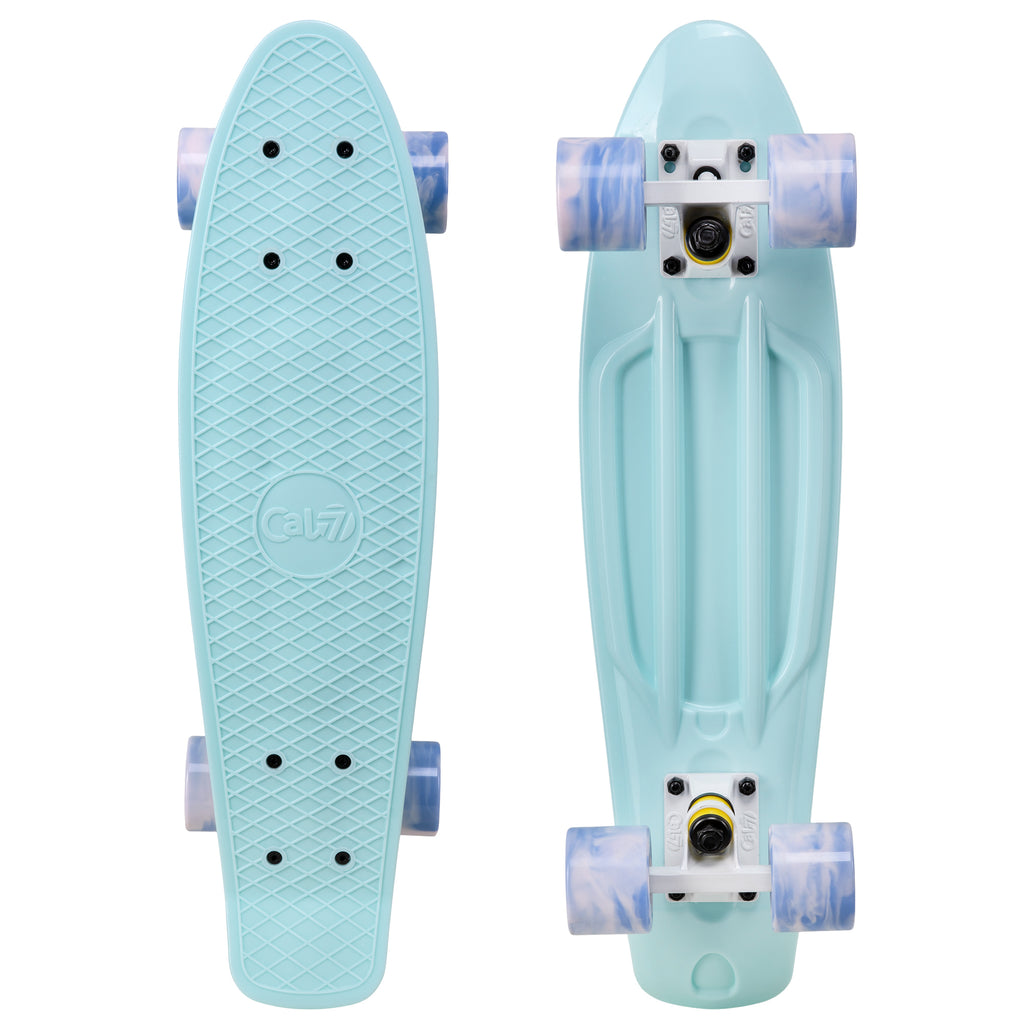 "Cal 7 Lily 22.5"" Mini Cruiser with Swirl Wheels features a pastel blue deck, 60mm 78A blue and light pink swirl wheels."