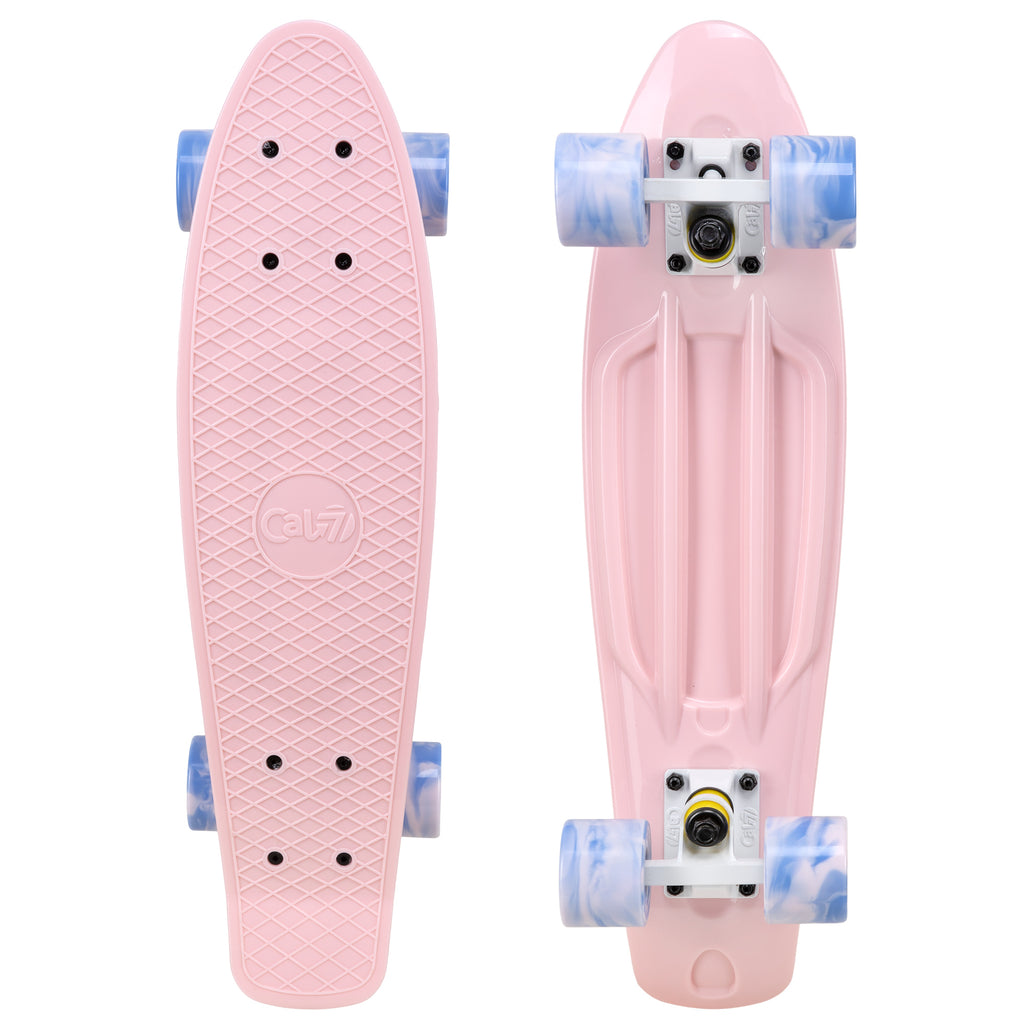"Cal 7 Lotus 22.5"" Mini Cruiser with Swirl Wheels: a plastic pastel pink deck with 60mm 78A blue and light pink swirl wheels."