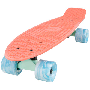 "Cal 7 Melrose  22.5"" Mini Cruiser with Swirl Wheels features a bright coral plastic deck, 78A blue & white swirl wheels."