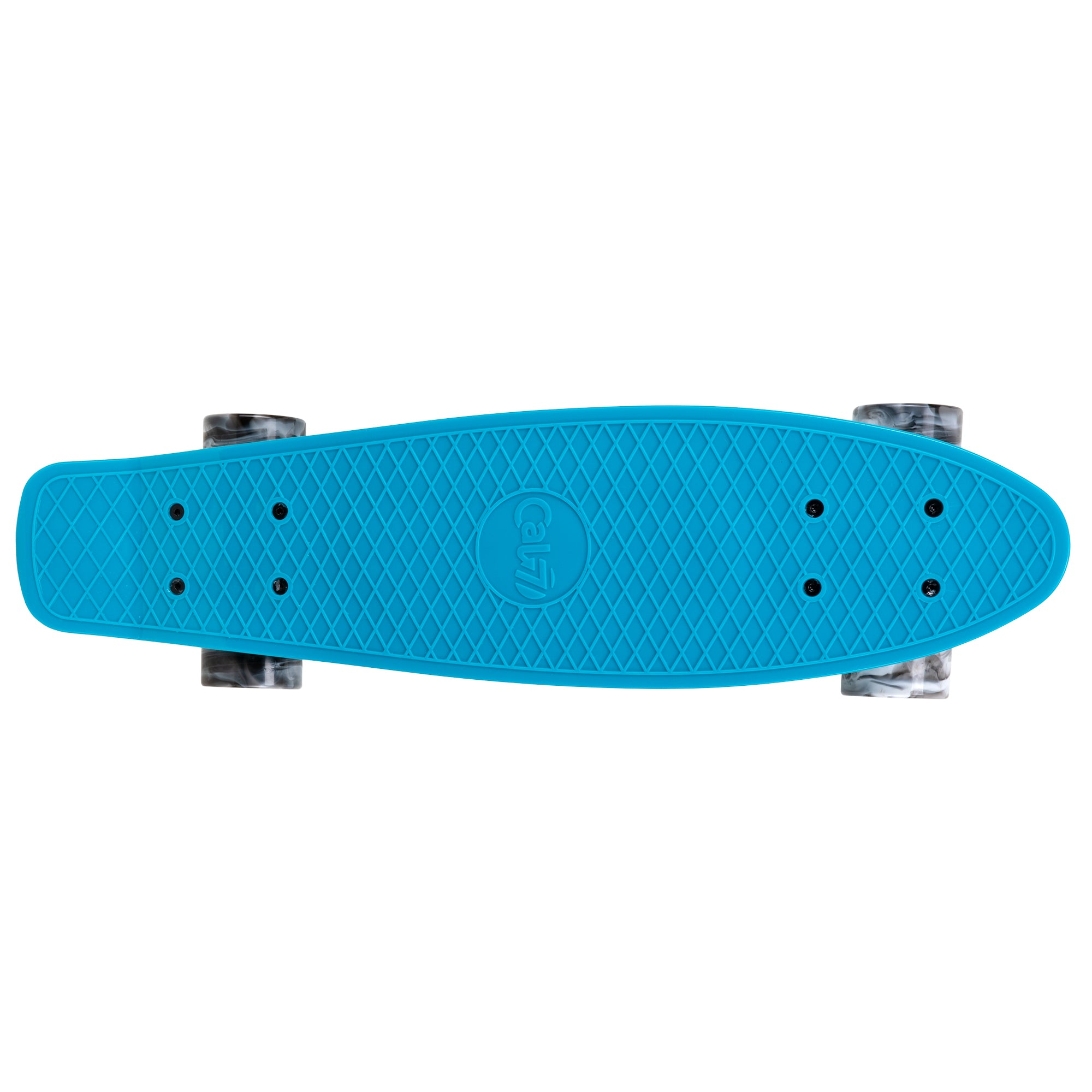 "Cal 7 Oceanic 22.5"" Mini Cruiser with Swirl Wheels -featuring a muted blue plastic deck, 78A black and white wheels."