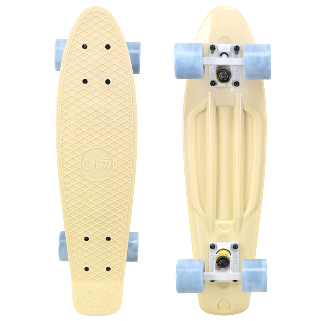"Cal 7 Snowdrop 22.5"" Mini Cruiser with Swirl Wheels - featuring a pastel yellow plastic deck with 78A grey swirl wheels."