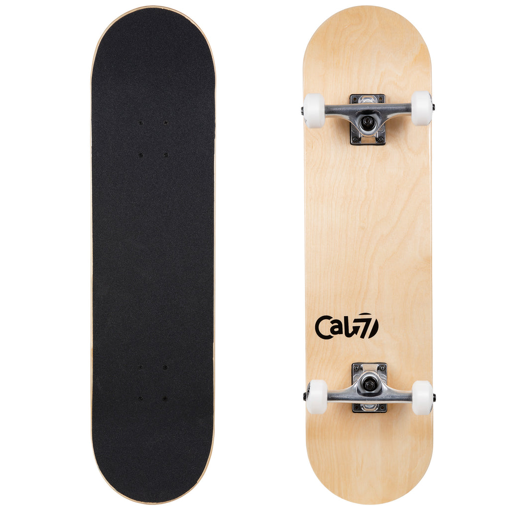 Cal 7 Complete 7.5/7.75/8-Inch Skateboard Grain with Logo and Natural Stain