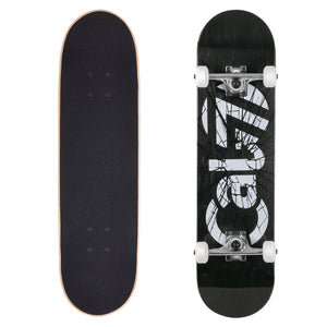 ): Cal 7 complete 8-inch Heist skateboard with black deck and glass shattered graphic