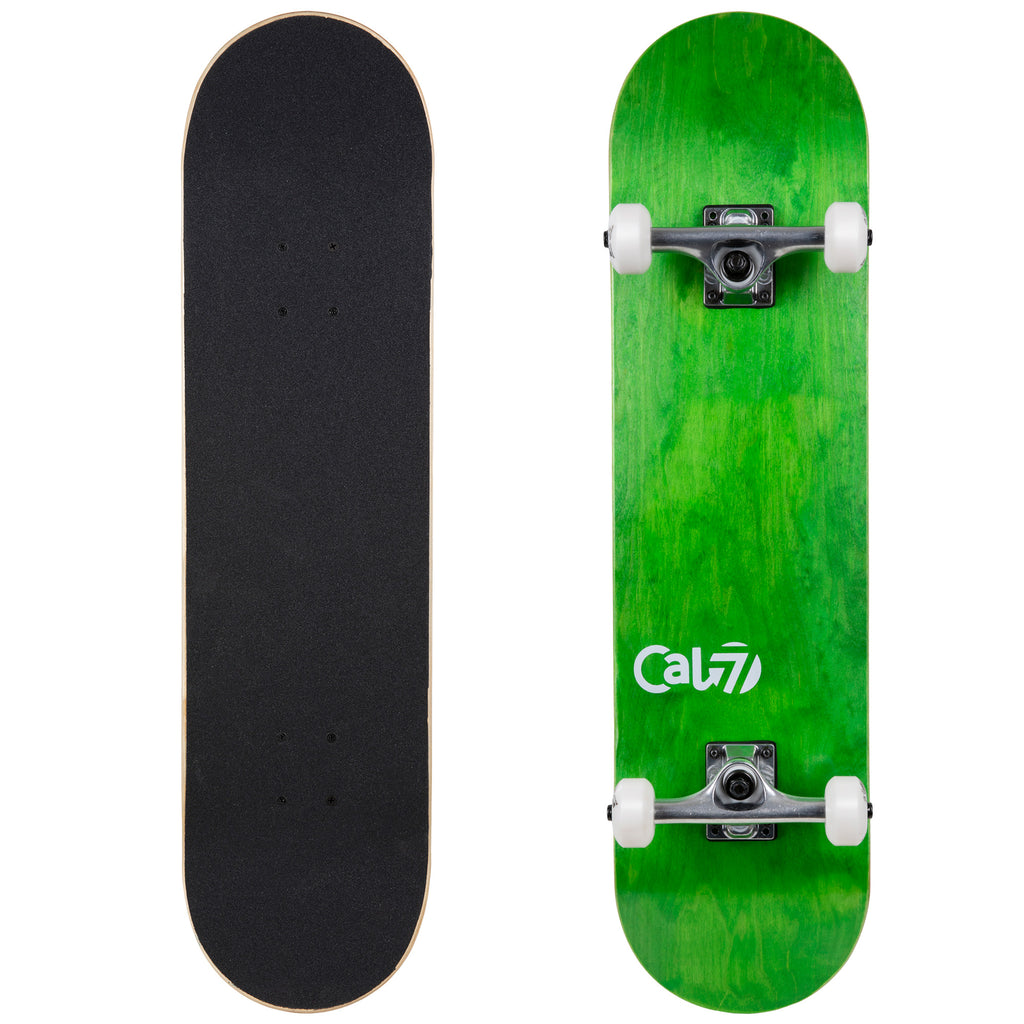 Cal 7 Complete 7.5/7.75/8-Inch Skateboard Meadow with Logo and Green Stain