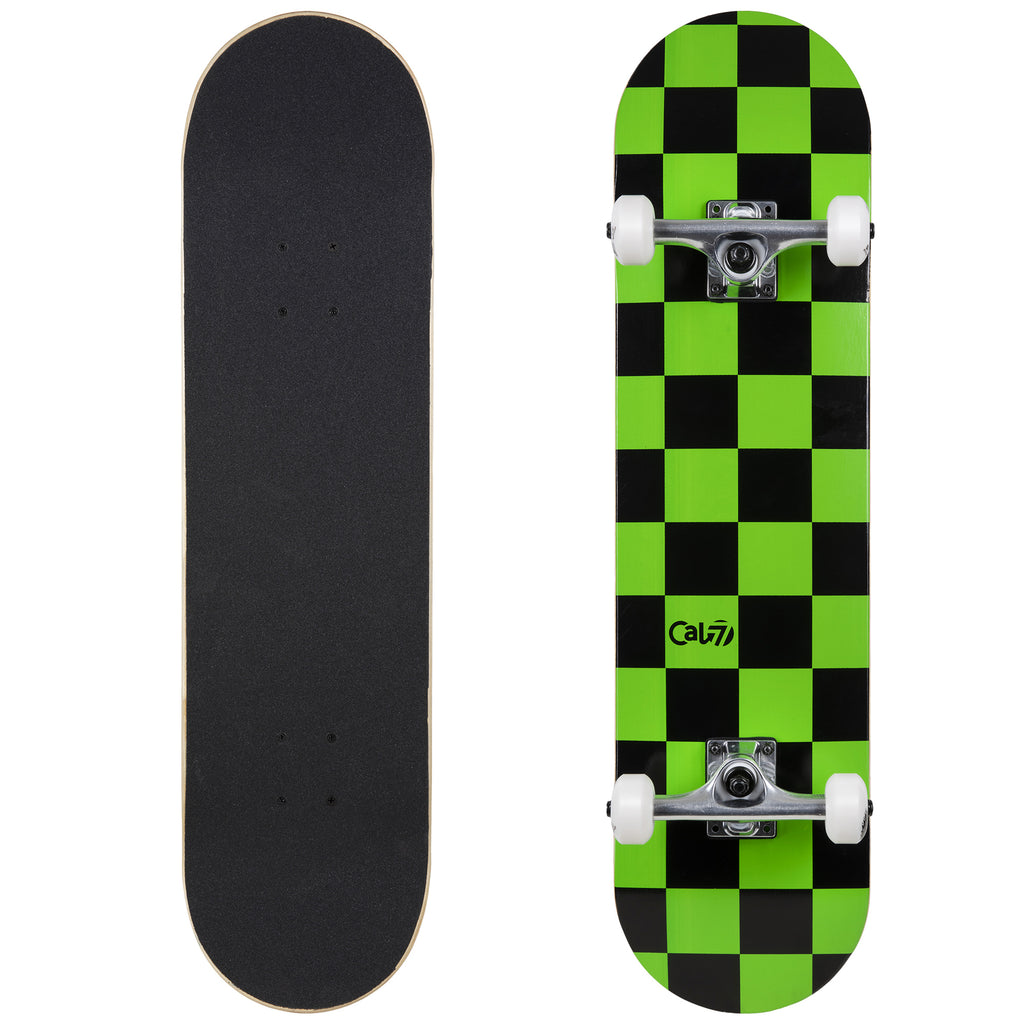 Cal 7 Complete 7.5/7.75/8-Inch Skateboard Optical with Lime Green and Black Check Design