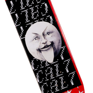 Cal 7 Dogma skateboard deck with black and red graphics and man-on-the-moon illustration