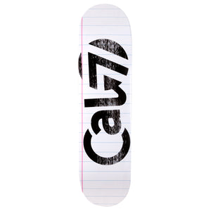 Cal 7 skateboard deck with lined paper sketch graphic