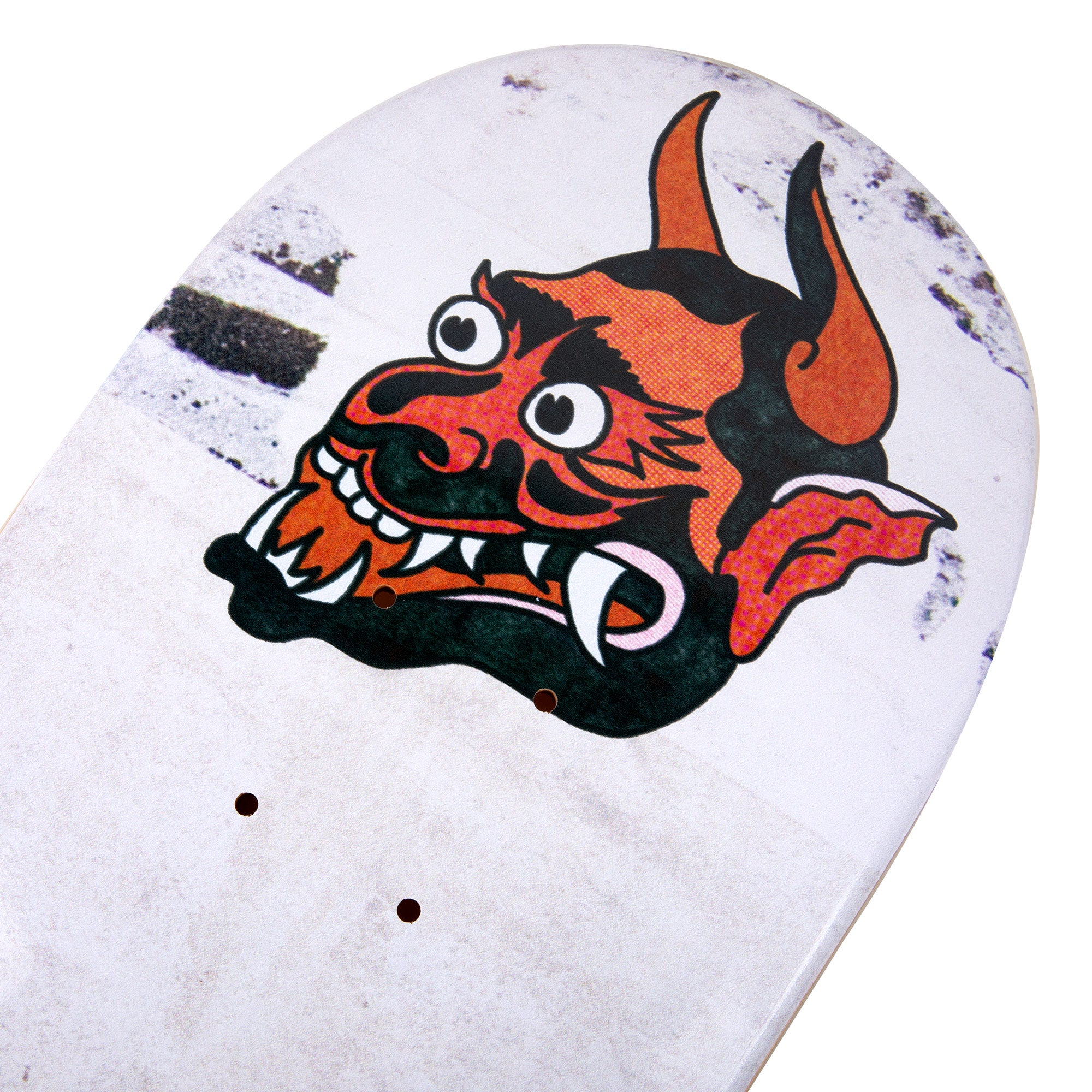 cold pressed cal 7 skateboard deck with bulldog and demon graphic