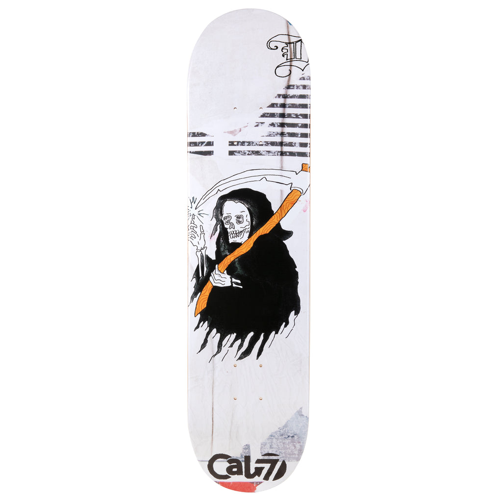 cold pressed cal 7 skateboard deck with reaper graphic