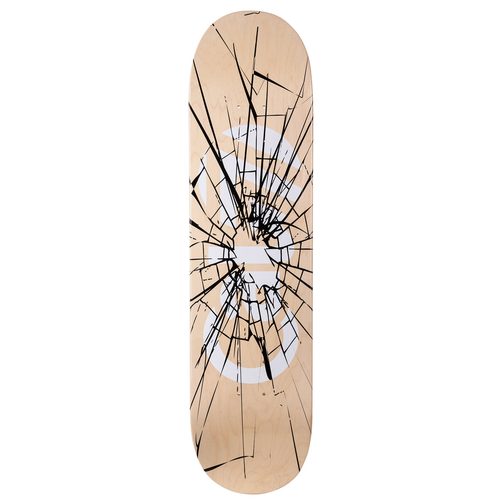 "Cal 7 Heist 7.75""/8""/ 8.25""/8.5""-Inch Skateboard Deck with natural wood grain, white logo and shattered graphic design."