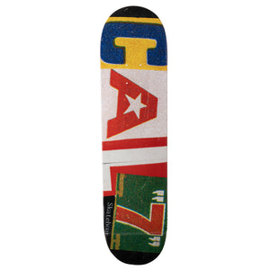 "Cal 7 Ransom 7.75""/8""/ 8.25""/8.5""-Inch Skateboard Deck with Collage Text Logo and Vintage Finish"