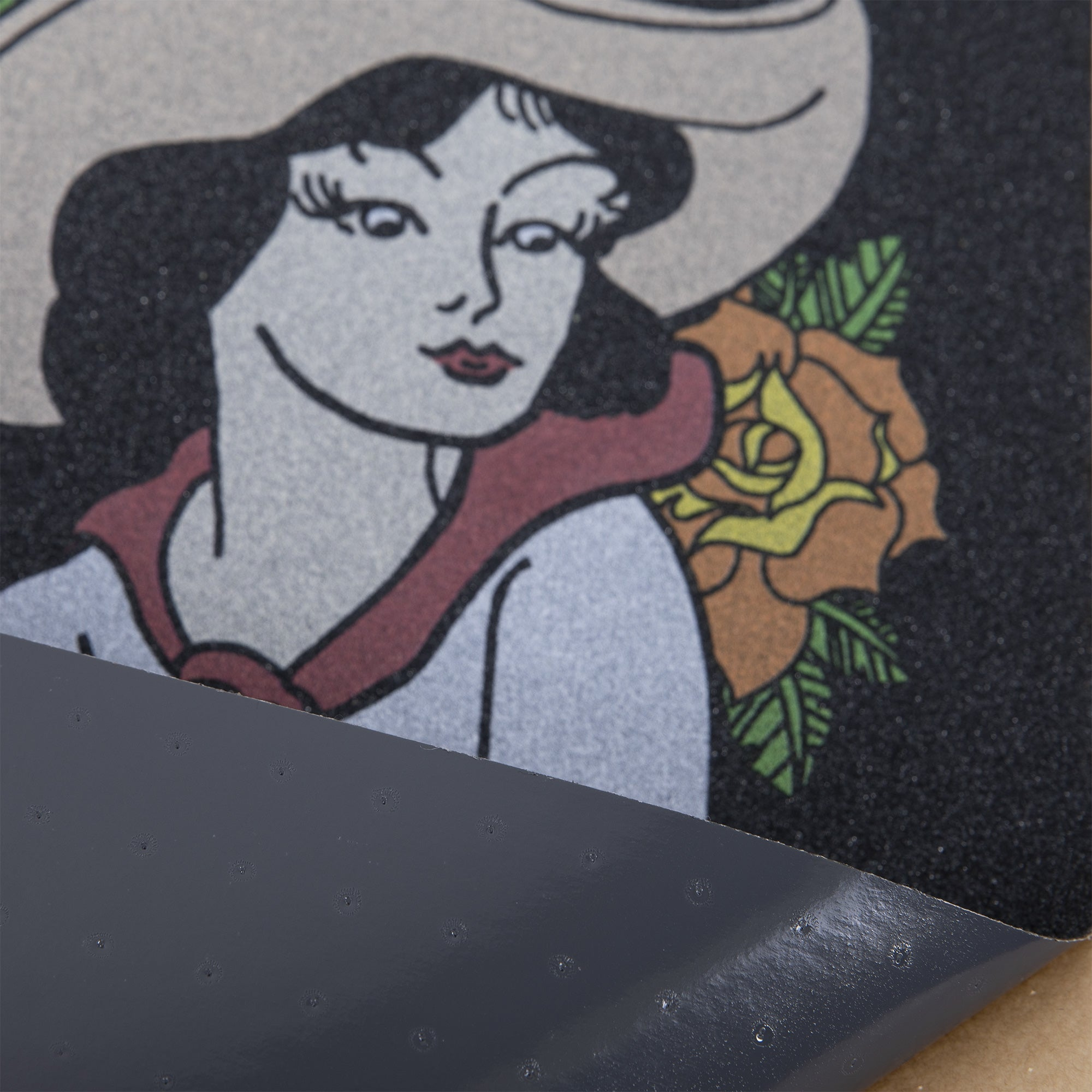 Cal 7 skateboard griptape with Cowgirl design