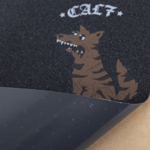 Cal 7 black skateboard griptape with dog design