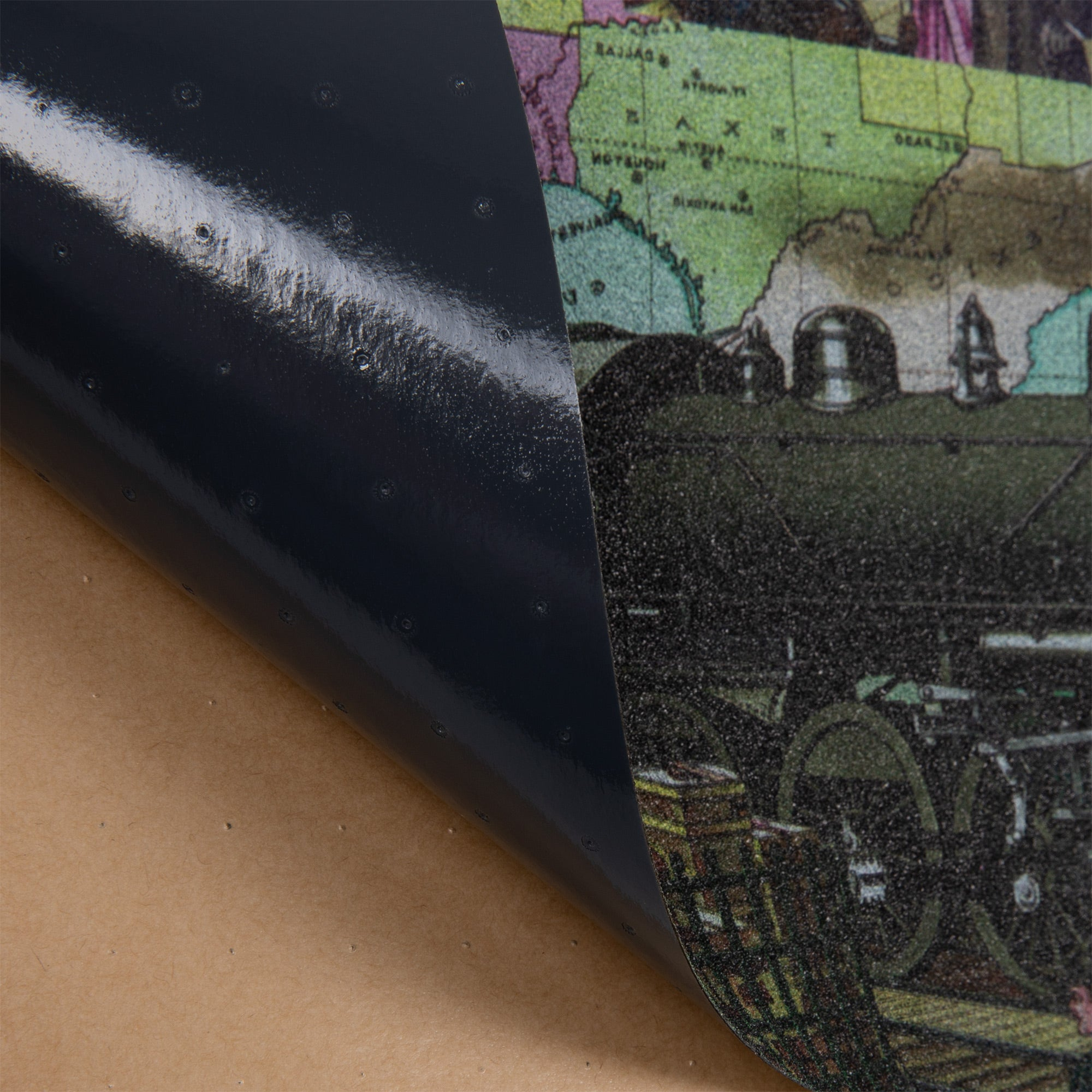 Cal 7 black skateboard griptape with old days design