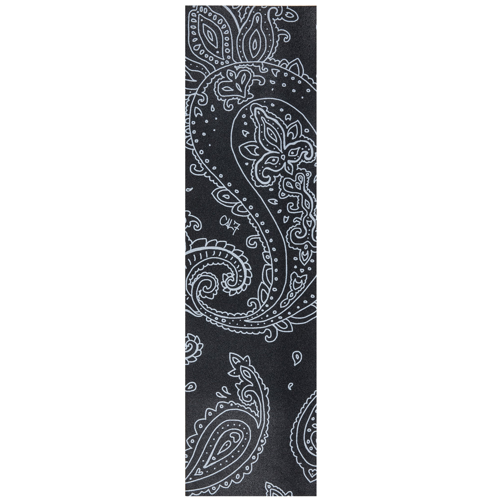 Cal 7 black skateboard griptape with paisley design