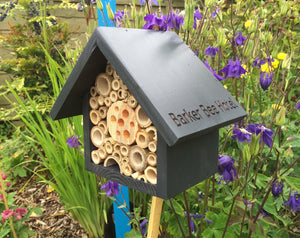 Mason Bee House, Bee Hotel, Insect House, in 'Urban Slate'. Can be personalised. - Wudwerx