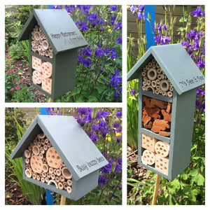Single Tier Bee Hotel, Dark Green. Can be personalised. - Wudwerx