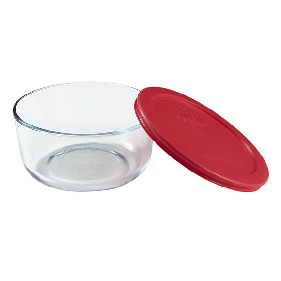 Pyrex Simply Store 4-Cup Round Glass Food Storage Dish, with Red Lid