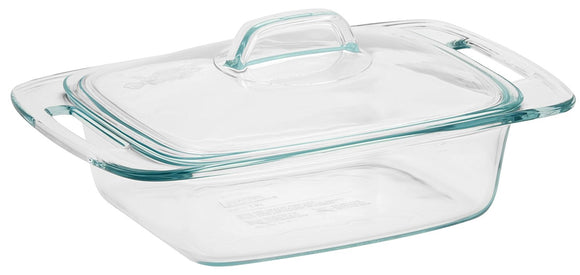 Pyrex 2-Quart Casserole Glass Bakeware Dish with Glass Lid, Easy Grab