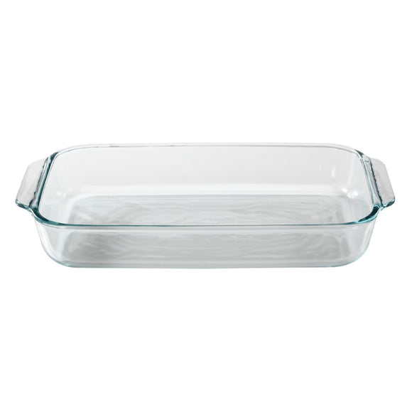 Pyrex 3 Quart Glass Oblong Baking Dish, Clear 8.9 Inch X 13.2 Inch, Basics Series
