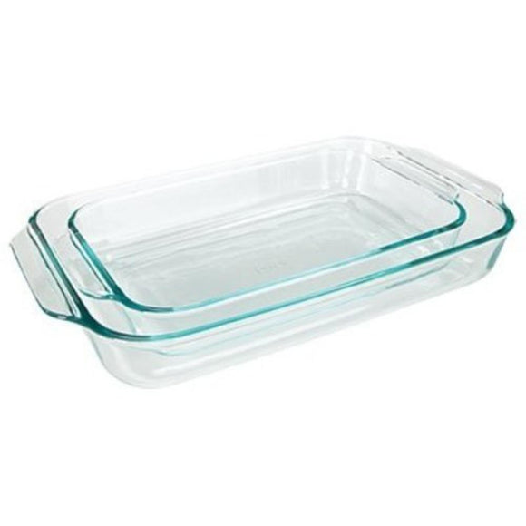 Pyrex Basics Clear Oblong Glass Baking Dishes, 2 Piece Value Pack Set