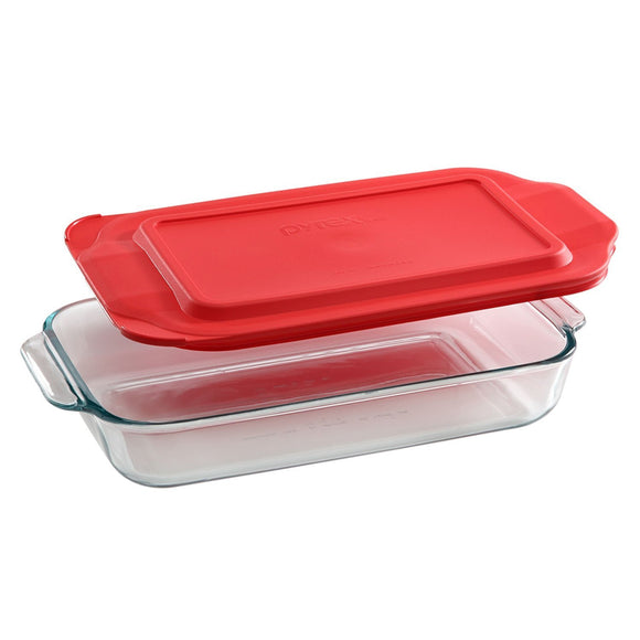 Pyrex 2-qt Oblong Baking Dish w/ Red Cover, Basics Series