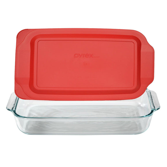 Pyrex Basics 3 Quart Glass Oblong Baking Dish with Red Plastic Lid - 9 x 13 Inch