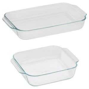 Pyrex Basics Clear Glass Baking Dishes - 2 Piece Value Pack