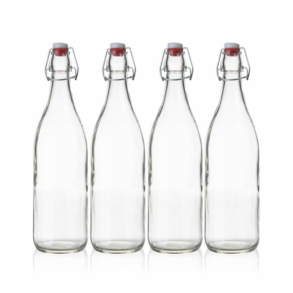 Seacoast Clear Glass Bottle with Swing Top Stopper, 33.75 Oz (Set of 4)