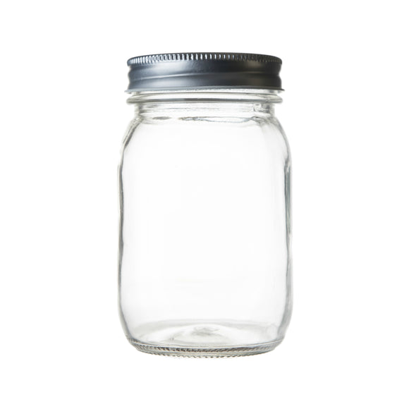 Seacoast 16 oz Mason Jars, Regular Mouth With Steel Lids